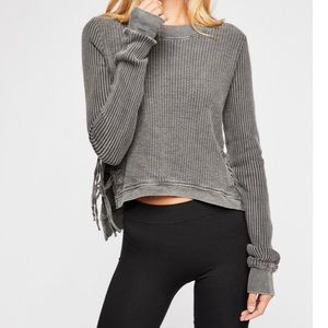 New Free People Cropped Interlaken Top- Charcoal